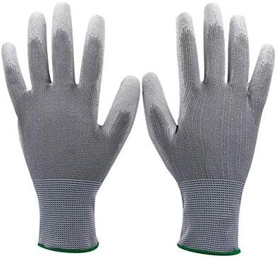 手袋 日常 実用 滑り止めのPU労働者を保護するための作業用手袋、安全手袋、10ペア (Color : Gray 50 Pairs, Size : XS)