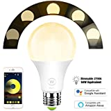 Magic Hue WiFi Light Bulb, Soft White (2700k), Smart Sunrise Wake Up Light Bulb, 50 Watts Equivalent, No Hub Required, Compatible with Alexa & Google Assistant