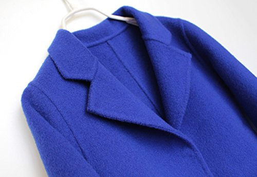 Girls Handmade Coat mid-length Woolen Overcoat Blue by ZYYGL (Image #2)