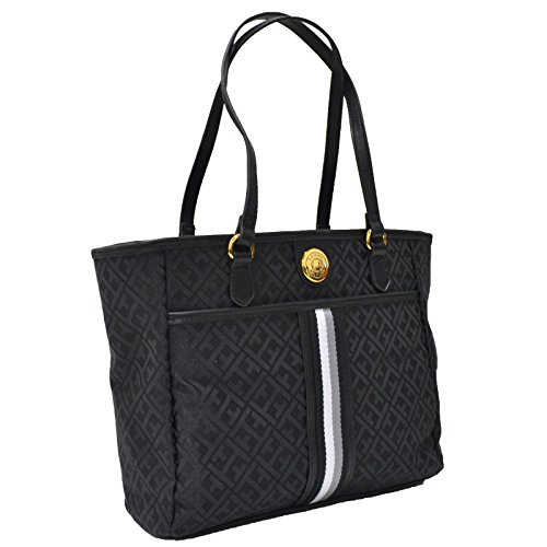 Tommy Hilfiger Tote Purse With Signature Stripe (Black)