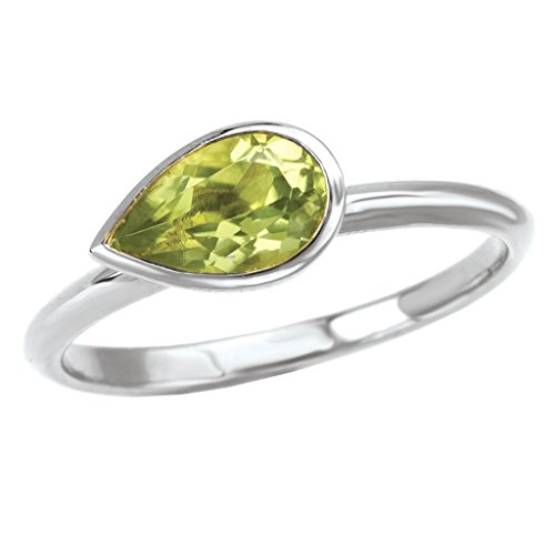 925 Sterling Silver Stackable 8x5mm Peridot Ring- Size (Element Peridot Ring)