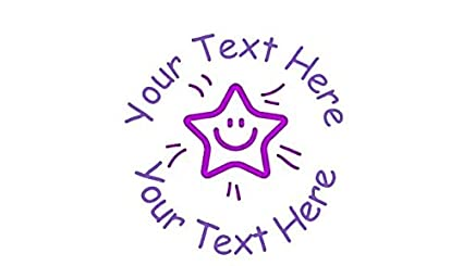 22mm Pre-Inked Custom purple smiling star Personalised Teacher Stamp
