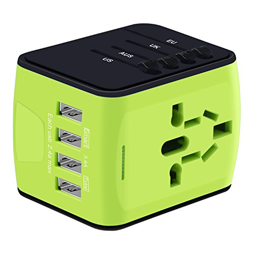 Universal Travel Adapter, International Power Adapter with 4 USB, Travel Plug Adapter for US, EU, UK, AU 150+ Countries, All In One European Adapter for iPhone, Android, All USB Devices-Green by HUANUO