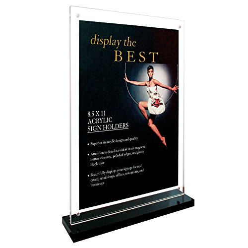 Deluxe Acrylic Sign Holder with Black Base and Magnet Button Closures (Black, 8.5''x11'') by Aloha Acrylic