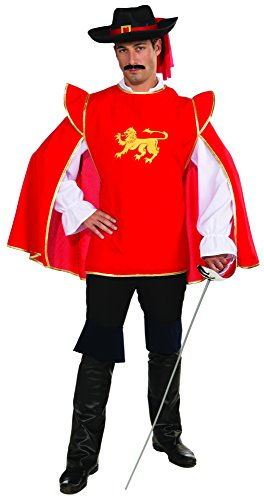 [Forum Novelties Men's Musketeer Costume Tunic, Red/Gold, One Size] (Musketeer Sword Costume)