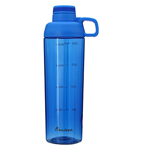 Hoople 32 OZ Water Bottle Buy One Get One Mixing Ball Free Twist Cap BPA Free Waterproof Can Be Used As Shake Bottle Perfect For Protein Mixing (32oz-blue) -  Bonison