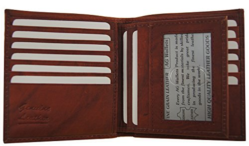 AG Wallets Men's Genuine Cow Leather European Bifold Removable ID Wallet Hipster (Removable Id Billfold)
