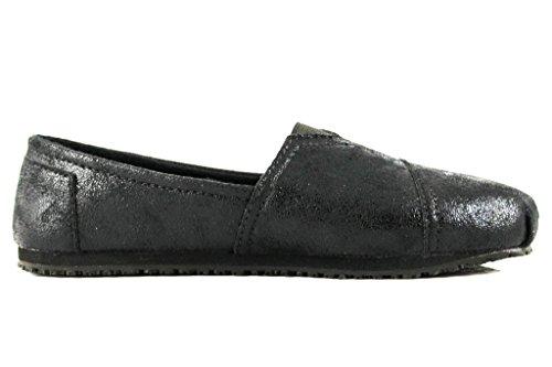 Townforst® Damen Slip und ölbeständige rutschfeste Arbeitsschuhe Jess PU Leder Slip-On Flat Wr Schwarz