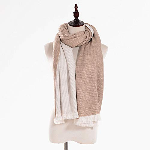 Khaki Women's Khaki Frayed Edge Winter Shawl Scarf Big Double-Face Warm Scarves
