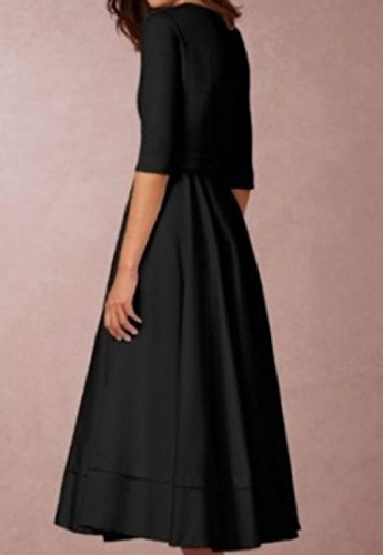 Neck Solid 4 Black Sleeve 3 Deep Maxi V Coolred Colored Dress Womens U58AqA