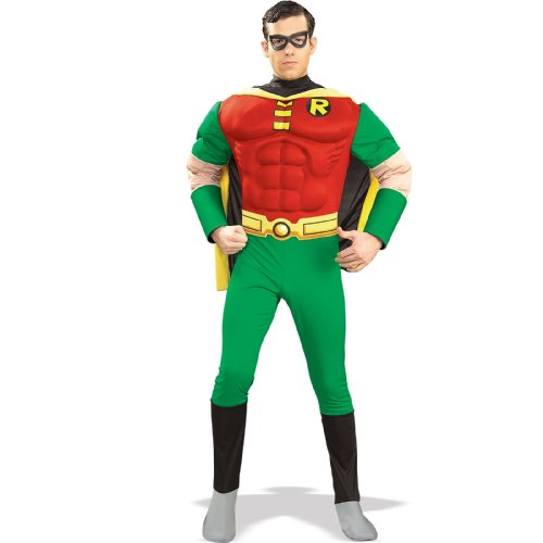 Batman And Robin Couples Costume (Deluxe Muscle Chest Robin Costume - Medium - Chest Size 40-42)