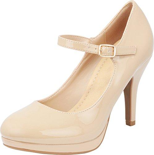 en's Round Toe Mary Jane Buckle Padded Comfort Platform Stiletto High Heel Pump,10 M US,Dark Beige Patent Pu ()