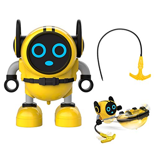 JJRC R7 Novelty Game Toy Spinning Top Robot Battle Gyro Pull Back Car Spinning in Wind Up Gyro Toy for Kids Boys Girls Gifts (Yellow)]()