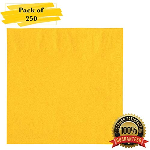 (MM Foodservice 2- Ply Cocktail Napkins, Beverage Paper Napkins, Set of 250 (Yellow))