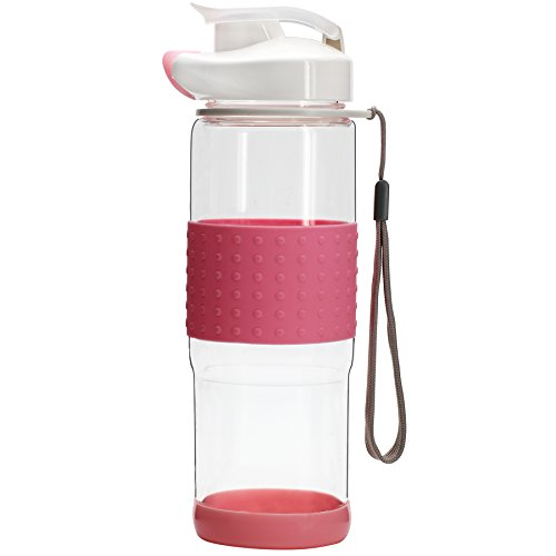 BONISON Flip Top Glass Water Bottle Silicone Wrap Glass Bottle Wide Mouth Spout Bottle BPA Free Lead Free Drinking Cup With Flip Top Lid Spout Cap Carrying Handle String-18.5 oz - Pink (Extreme Smoothie Chocolate)