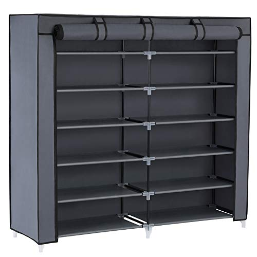 SONGMICS 7-Tier Shoe Rack 36-Pair Portable Shoe Storage Cabinet Organizer with Fabric Cover Grey - Cabinet Piece 7 Garage