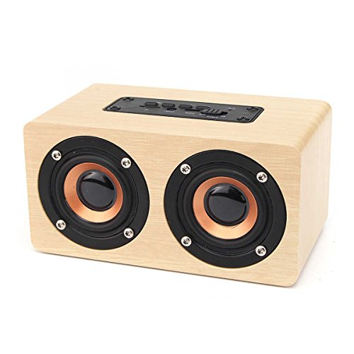 EIVOTOR 10W Portable Wireless Bluetooth Speaker with Super Bass - Bamboo Wood Home Speaker Support TF Card Builtin Mic and Battery