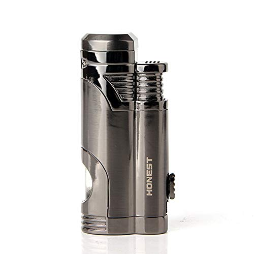 Torch Cigar Lighter Turbo Dual Jet Flame Refillable Butane Lighter Windproof Gas Fluid Lighter -Butane NOT Included