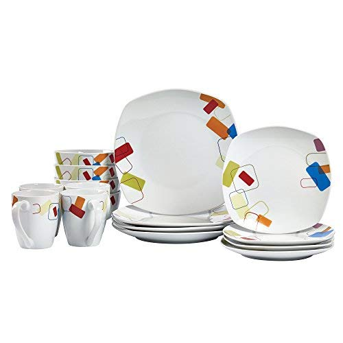 16 Piece Soft Square Dinnerware Set - -