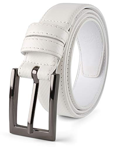(Men Genuine Leather Belt with Single Prong Buckle, Fashion & Classic Design for Dress and Causal,Gift box -white-size 38,Profile)