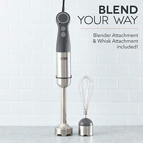 Dash Chef Series Immersion Hand Blender, 5 Speed Stick Blender with Stainless Steel Blades, Whisk Attachment and Recipe Guide – Cool Grey
