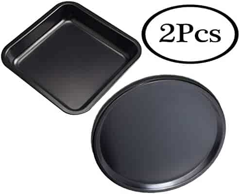 Fadfed 2Pcs SetCarbon Steel Nonstick Baking Pan 12Inch Round Pizza Pan +8 Inch Square Cake Pan Kitchenware