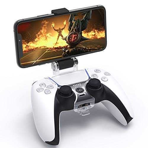 Clip Mount for PS5 DualSense Wireless Controller, YUANHOT Mobile Phone Clamp Bracket Holder with Adjustable Stand for PlayStation 5 Controller