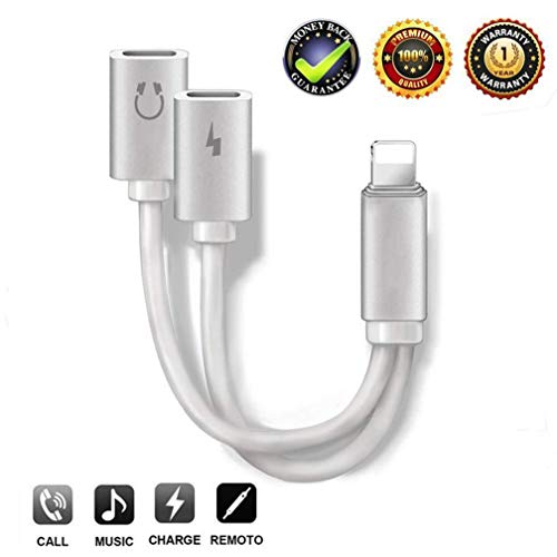 Headphone Adapter for iPhone Splitter 2 in 1 Earphone Jack Aux Audio Charger, Double Dual Adapter Cable for iPhone 7/7 Plus/8/8 Plus/X/Xs Headset Music&Car Charger&Remote&Call Support 10.3 or Later