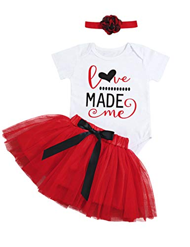 Newborn Baby Girls 3 6 12 18 Months First Valentines Day Outfit Love Made Me Rompers+Princess Tutu Skirts+Headband Clothing Set 6-12 Months Red