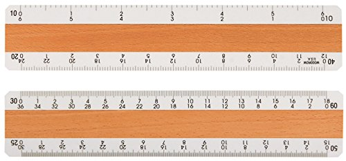 "Woodrow 6"" Civil Engineering 4 Bevel Wood Ruler"