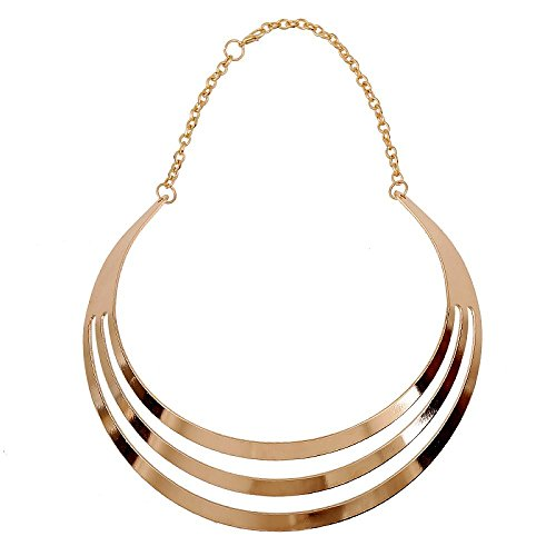 Fashewelry Metal Choker Necklace Collar Statement Necklace for Women (Style2 Golden) from Fashewelry