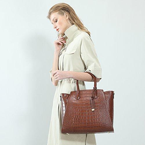 Sacs en cuir véritable pour femmes avec du cuir de vachette de luxe au crocodile en relief