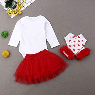 Newborn Baby Girl Tutu Outfit Set Long Sleeve Red Heart Romper Top and Tutu Skirt Leg Warmers 4PCS Clothes