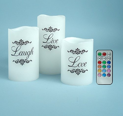 3pc Live, Laugh, Love Color Changing Candle Set