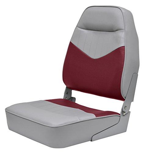 Wise 3121-935 Mid-Back Contoured Foam Boat Seat, Cuddy Marble Grey-Cuddy Dark Red