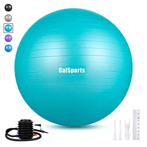 GalSports Extra Thick Exercise Ball, Anti-Burst Yoga Ball Chair Supports 2203lbs with Quick Pump, Stability Fitness Ball for Birthing & Core Strength Training & Physical Therapy