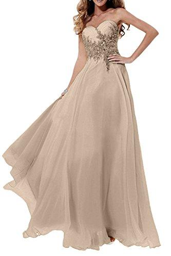 Langes Kleider Chiffon Abschlussballkleider Marie La Abendkleider Champagner Braut Damen Jugendweihe mit Steine R4xUq