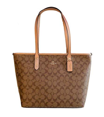 - Coach Signature Metallic City Zip Tote Bag