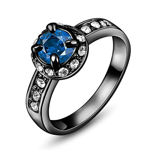 ANAZOZ Gold Plated Women Ring Blue Fashion Cushion Cut Four Claw Cubic Zirconia Band Ring 9X9Mm AP192 ()