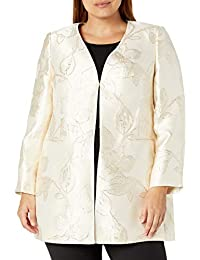 Women's Open Front Metalic Floral Jaquard Topper