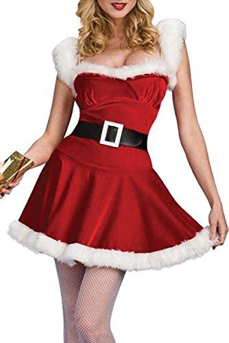 iecool Women's Festive Sleigh Belle Santa Costume Red01 (Sleigh Belle Sexy Costume)