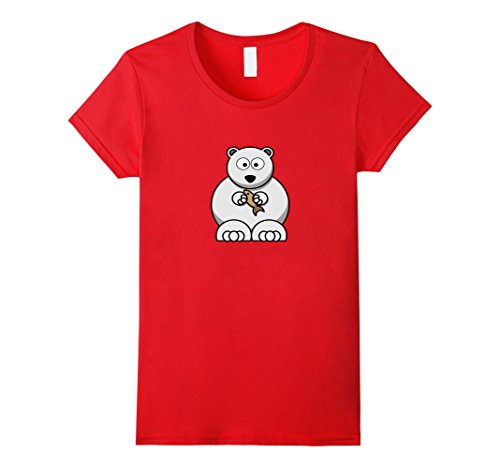 Womens Cute Bear Holding Fish Shirt Small Red