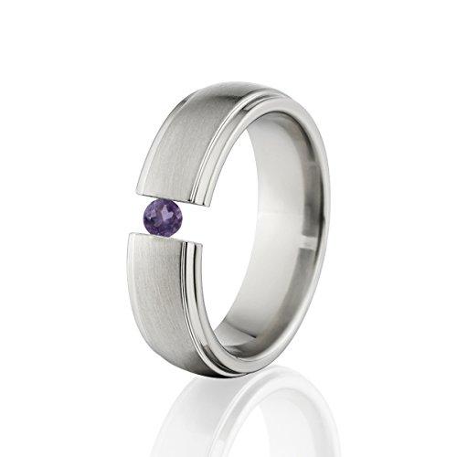 Amethyst Ring Titanium Tension Set Jewelry Stunning Amethyst Band Amethyst Tension Set Ring