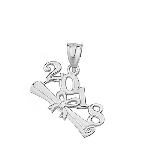 2018 Graduation Diploma Charm Pendant (Sterling Silver)