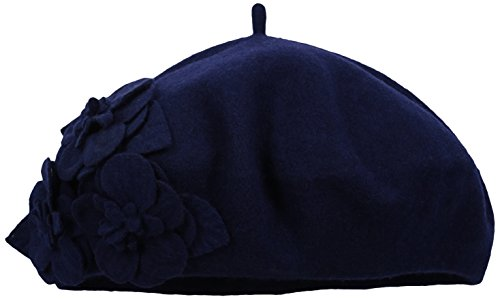 San Diego Hat Company Women's Wool Beret Hat with Self Flowers, Navy, One Size