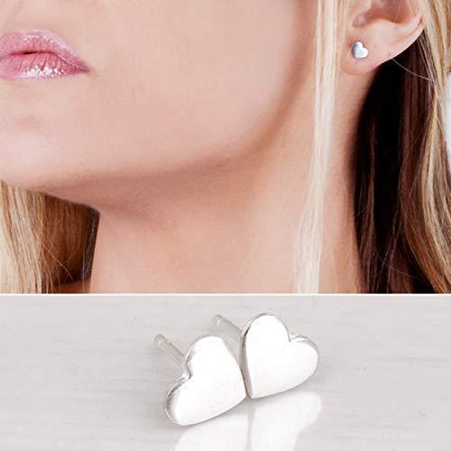 Sterling Silver Designer Handmade Earrings - Heart Stud Earrings in 925 Sterling Silver - Designer Handmade Small Posts For Girls and Women