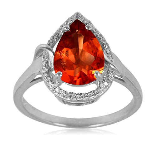 (1.5 CTW Natural RED ANDESINE & DIAMOND 925 Sterling Silver Cocktail Ring Size 7 )