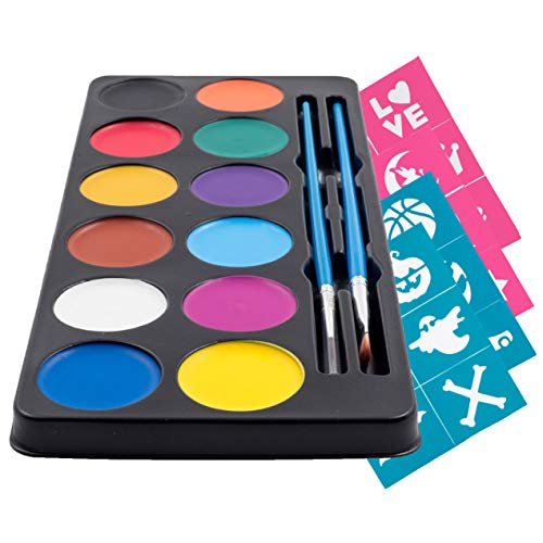Face Paint & Body Painting Palette (12 Vibrant Water Colors) 24 Stencils 2 Brushes & Tutorial Ebook For Beginners - Ideal For Sensitive Skin, 100% Safe - Halloween Party Makeup - Super Easy On and Off ()