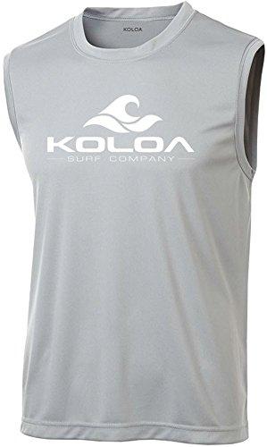 Sleeveless Rash Guard - Koloa Surf Wave Logo Moisture Wicking Sleeveless T-Shirt-Silver/white-2XL