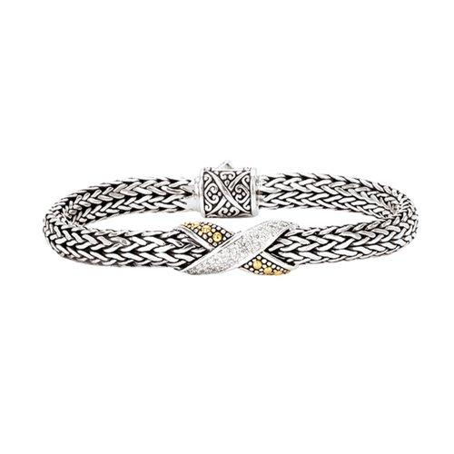 925 Silver & Diamond Criss-Cross Bracelet (0.18ctw)- 7.5 IN